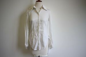 Ginger & Smart: Ladies White Cotton Collared Top/Blouse, Size 8