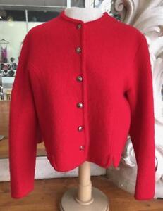 Red Boiled Wool Austrian Tyrol Style Woman's Jacket Size 8 Bust 36 Oktoberfest