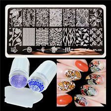 3pcs Manicure Template Maple Leaves Nail Stamping Plate & Clear Stamper Manicure