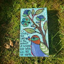 Folk Art ORIGINAL Psalm Bible Scripture Worship LORD Holy Bird Butterfly Tree