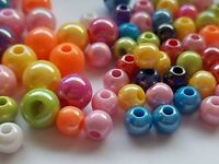 100 x 8mm or 6mm Glossy Acrylic round Mixed Bright Colour Lustre BEADS