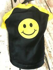 Casual Canine Smiley Face Raglan Dog T-Shirt Pet Tees Smile Top Tee Black X S