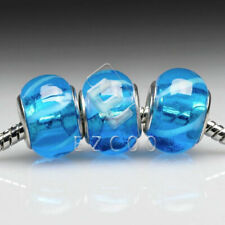 5pcs Murano Glass Lampwork Large Hole Beads Fit European Bracelets 14x10mm YBLB