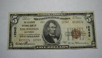 $5 1929 Los Angeles California CA National Currency Bank Note Bill Ch. #12545