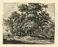 "Anthonie Waterloo original etching ""Traveller Near a Wood"""