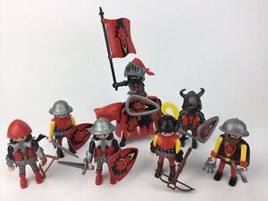 7x Playmobil Red Dragon Knights Figures and Accessories