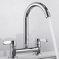 Twin Lever Kitchen Sink Mixer Tap Swivel Modern Chrome 2 Hole Deck Mounted Taps