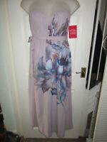BNWT UK 14 Little Mistress Maxi Dress Pink Bandeau Floral Strapless Ball Gown