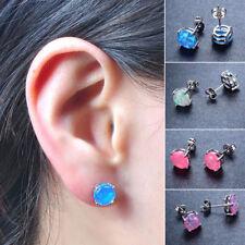 1 PC Women Round Fire Opal Ear Stud Earrings Gems Colorful Jewelry Chic Gift