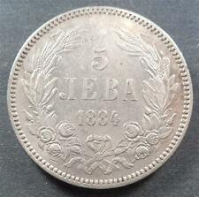 Bulgaria, Silver 5 Leva, 1884, toned