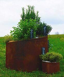 Novaliv Kräuterspirale mit Pflanzenschilder Naturrost 31cm, 41cm, 51cm Hochbeet