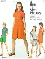 Simplicity Vintage 1960s Bust 36 Mod Dress Sewing Pattern Mock Turtleneck #7271