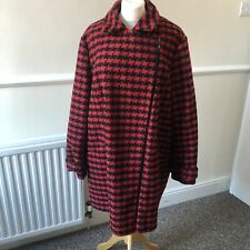 TU Black Red Houndstooth Coat Size 20 Side Zip Blogger Plus Size UK Pockets