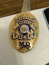 Obsolete Damaged  Rockville Maryland Police Detective Badge. Broken Safety Catch