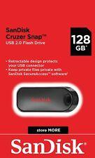 SanDisk® Cruzer Snap™ 128GB USB 2.0 Flash Drive Memory Stick Pen Genuine