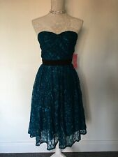 LITTLE MISTRESS TEAL LACE 1950'S STYLE DRESS BNWT SIZE 14 CHRISTMAS, BRIDESMAID
