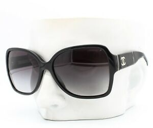 Chanel 5230Q 1345/3C Sunglasses Polished Black / Ivory CC Logo - Please Read