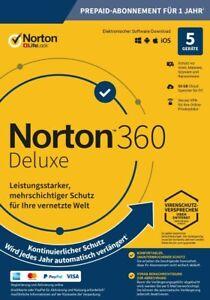 NORTON 360 Deluxe 2021 5 Geräte 5 PC/Mac/Android 2020 DE Internet Security KEY