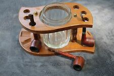 VINTAGE Lot Tabletop Wood Wooden Holder Rack Caddy Glass Humidor + 3 MIX pipes
