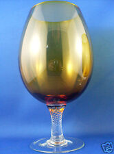 RARE Vintage EMPOLI Italy AMBER ART GLASS Brandy Balloon Glass EUC - In Aust