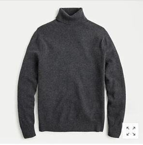 🔥J.Crew Men's Cashmere Turtleneck Sweater Sz: M Color: HTHR Charcoal AF109