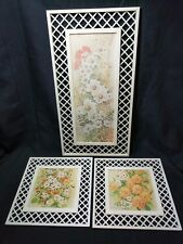 Vintage Lattice Frame Floral Pictures by Vivienne Nu-Dell Plastics, Water Damage