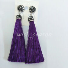 Vintage Fashion Women Bohemian Fringe Long Tassel Crystal Hook Dangle Earrings