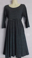 BNWT Ladies navy/white stripe soft cotton blend 3/4sleeve dress Size10