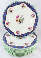 ANTIQUE SET 6 DINNER PLATES ROYAL DOULTON BONE CHINA PINK FLOWERS BLUE GREEN