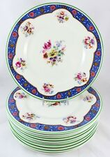 ANTIQUE SET 11 DINNER PLATES ROYAL DOULTON BONE CHINA PINK FLOWERS BLUE GREEN