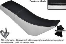 BLACK & WHITE CUSTOM FITS DERBI SENDA BAJA 125 DUAL LEATHER SEAT COVER