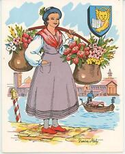 VINTAGE SPAGHETTI SAUCE RECIPE GARDEN FLOWERS ITALY PRINT 1 COFFEE POT CAT CARD