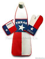 Texas Kitchen & BBQ Set w/ Apron Oven Mitt Pot Holder FREE S/H State Flag Texans