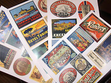 30 Reproduction vintage LUGGAGE LABELS - DIY decorate old suitcase steamer trunk