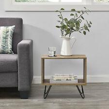 en.casa Comodino da letto Tavolino design 48x29.5 cm Gambe Hairpin Effetto legno