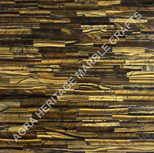 "12"" Marble Coffee Cafe Table Top Golden Tiger Eye Brick Inlay Decor Hallway E225"