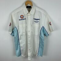 Aston Martin Racing Mens Shirt XL Extra Large White Short Sleeve Button Up