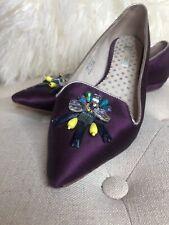 Boden Purple Jeweled Beaded Flats Skimmers Pointy Toe Sz EU 40