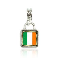 Flag of Ireland Euro European Italian Style Bracelet Bead Sqr Charm