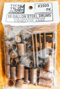 Tichy Train Group #3509 (S Scale) 55 Galon Steel Drums/Steel Lids/Wood Fire Lids