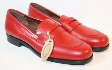 Tods Women's Red Leather Loafers Slip Ons Shoes / Heels - Size 36 / US 6 NWT