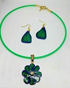 SARITOOSH Set green Blue flower necklace Gold earrings leaf handmade