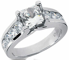 2.19 ct Princess & Round DIAMOND Engagement Wedding 14k White Gold Ring G color