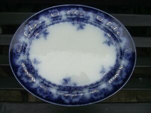Antique Alfred Meakin Flow Blue Semi Porcelain Meat Plate Platter Normandy Ptn