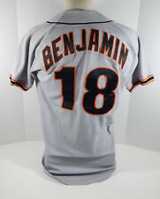 1991-93 San Francisco Giants Mike Benjamin #18 Game Used Grey Jersey DP03968