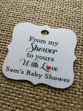 From my shower to yours With love Personalised Baby Shower Tags Guest Tags x30