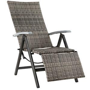 Aluminium Polyrattan Relaxsessel mit Fußablage Gartenstuhl Klappstuhl B-Ware
