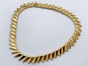 VINTAGE SIGNED CROWN TRIFARI 9ct GOLD PLATED DESIGNER COLLAR  LADIES NECKLACE