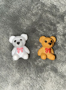 Miniature Teddy Bear Figures Set Of 2 Doll House Accessories New In Gift Bag