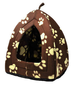 Cat Dog Puppy Pet Soft Padded Fleece Igloo House Bed